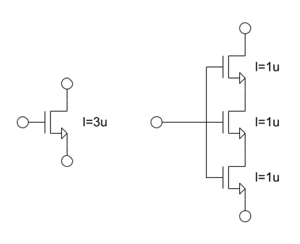Stacked MOSFETs in analog layout